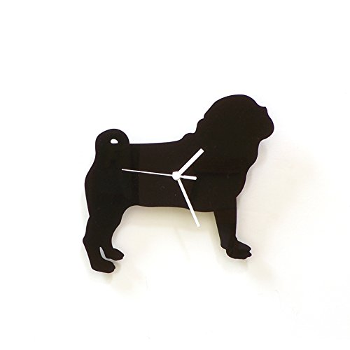 Pug dog - black acrylic wall clock, a piece of wall art, animal clock, gift for pet lovers, silhouette clock