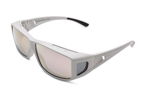 Mr.O Fitover Polarized Sunglasses + Ultra thick Microfiber Pouch (Gray, Smoke w/rose Revo)