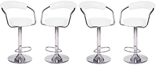 Millsave 4 Modern Adjustable Counter Swivel Pub Style Bar Stools Barstools White