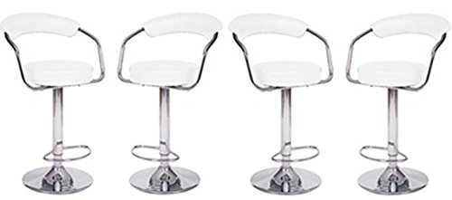 (4 Modern Adjustable Counter Swivel Pub Style Bar Stools / Barstools White)