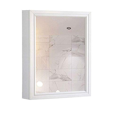 White Bathroom Wood Frame Mirror Wall Mounted with Cosmetics Cabinet -