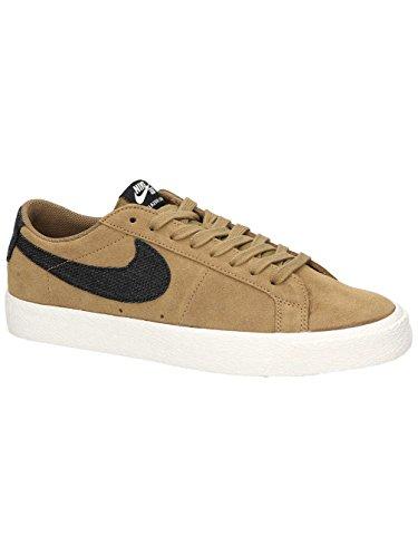 Nike Sb Blazer In Pelle Nera / Sneaker Scamosciata Beige Dorato / Nero / Vela / G