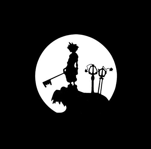 "KINGDOM HEARTS VIDEO GAME SORA MOONLIGHT LOGO VINYL STICKERS SYMBOL 5.5"" DECORATIVE DIE CUT DECAL FOR CARS TABLETS LAPTOPS SKATEBOARD - WHITE"