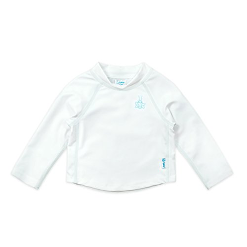 i play. Long Sleeve Rashguard Shirt | All-day UPF 50+ sun protection-wet or dry,White Classic,24 months