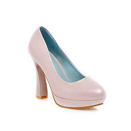 AmoonyFashion Womens PU Solid Pull-on Round Closed Toe Platform High-Heels Pumps-Shoes Pink nuLIl