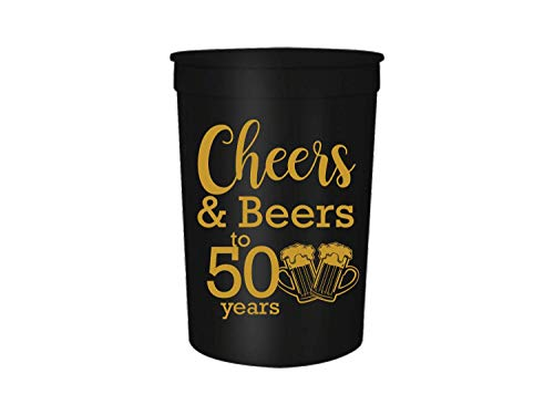 Cheers and Beers to 50 Years Birthday Party Cups, Set of 12, 16oz Black and Gold Stadium 50 Birthday Cups, Perfect for Birthday Parties, Birthday Decorations (50)