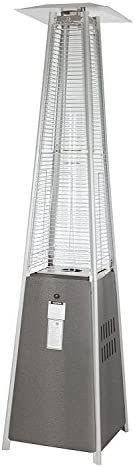 Golden Flame Resort Model 40,000 BTU Glass Tube Pyramid Style Flame Patio Heater in Hammered Silver Pewter Finish