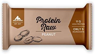 Multipower Protein Raw Bar Eiweißriegel, 20 x 45 g Protein Riegel Box, leckerer Energieriegel aus natürlichen Zutaten, Peanut
