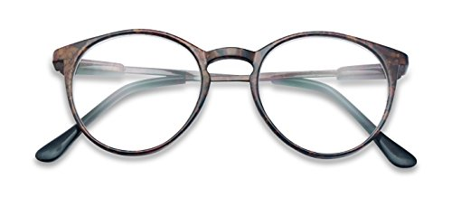 Classic Thin Horn Rimmed RX Optical Round Keyhole magnification Reading Glasses Unisex (Brown Marble, - Keyhole Optical