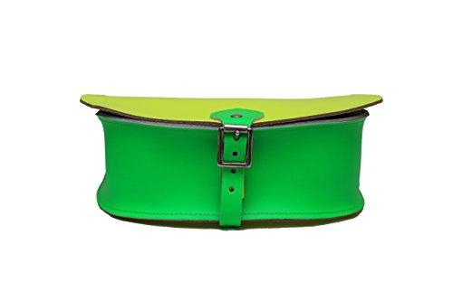 ˆ Cuero Ržglable Neon Fermeture Disponible Nombreuses Saddle Jaune Dans Main Et Contraste Sangle Cruz De Dual Deux Vert Cuerpo Sac Real Combinaisons Boucle Avec Couleurs U68xrqUw