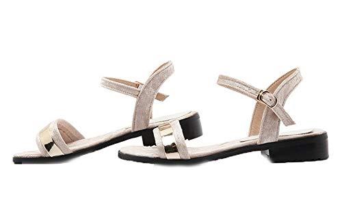 CCALP015053 Heels VogueZone009 Imitated Open Beige Sandals Buckle Toe Suede Low Solid Women qvvxSnEUwO
