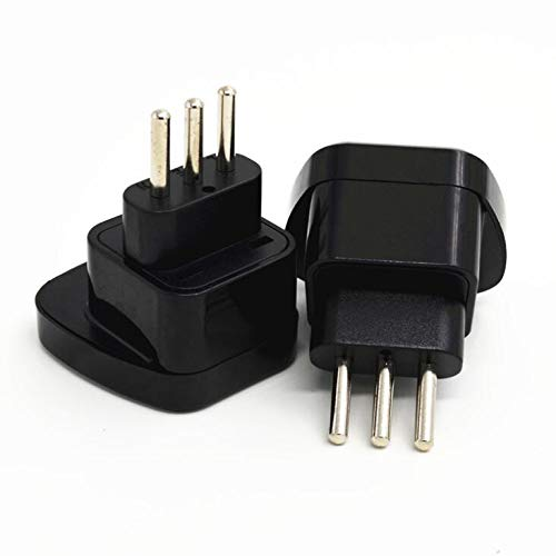 (Computer Cables LBSC Type L Italy Plug Adaptor, UK to Italian Adapter for Visitors from UK to Italy & Uruguay - (Cable Length: Black))