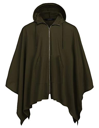COOFANDY Mens Casual Hooded Cloak Cotton Robe Cape Coat Autumn Vintage Poncho Army Green ()