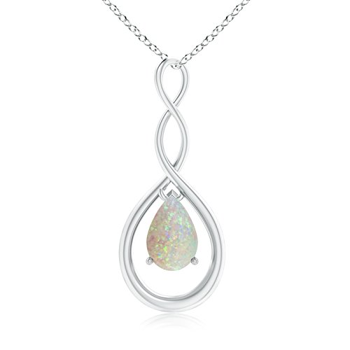 Pear Shaped Opal Infinity Loop Pendant Necklace in Silver by Angara.com