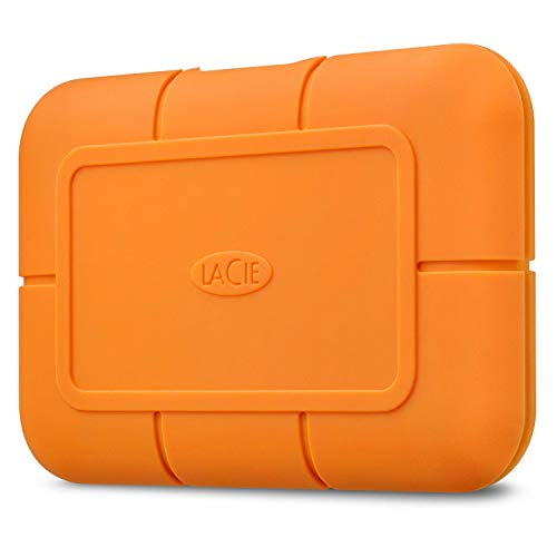 LaCie Rugged SSD 2TB Solid State Drive — USB-C USB 3.2 NVMe speeds up to 1050MB/s, IP67 Water Resistant, 3m Drop resistant, Encryption, 5-year Warranty with Data Recovery, 1 Mo Adobe CC (STHR2000800)