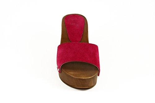 SilferShoes - Zoccolo in vero legno e pelle di camoscio, colore fucsia
