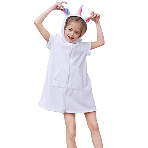 QtGirl Unicorn Cover Up for Girls Hooded Terry