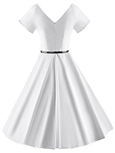 collo Annata Donne 1950 V V026 Del Partito Vestito bianchi Sera Di Rockabilly Ilover Oscillazione FBt6wzxq6