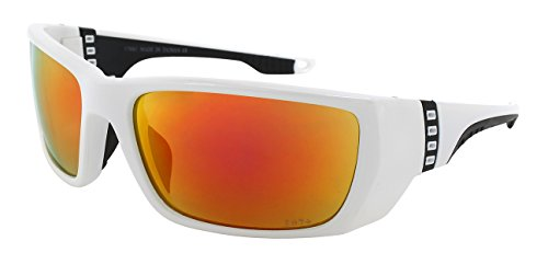 Edge I-Wear Sports Safety Sunglasses ANSI Z87+ Color Mirror Lens 570061/REV-4(WHT.rrev)