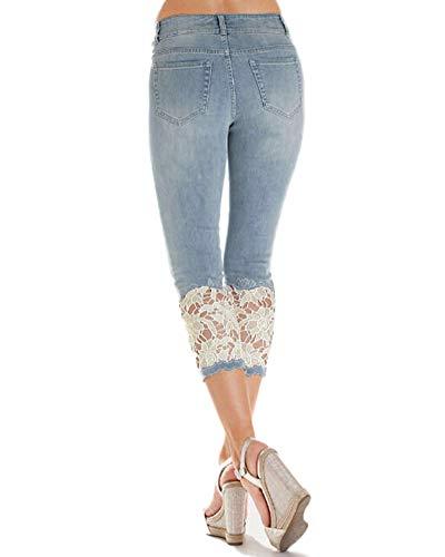 Cropped Fonc Skinny Dentelle Jeans Denim Pantalon Bleu Femmes Crayon Slim Pantalons Capri Fit gq7w0