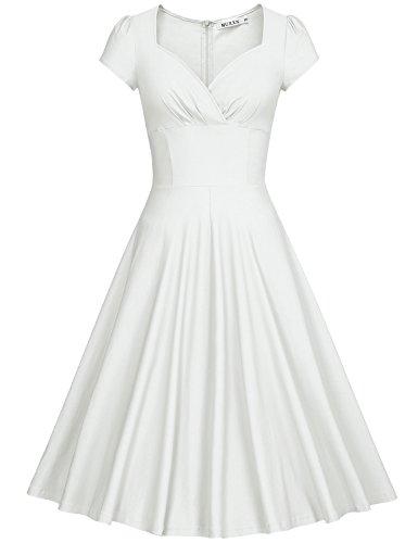MUXXN Women's 50s Vintage Sweetheart Neck Floral Cocktail Swing Dress (M, (Floral Cocktail)