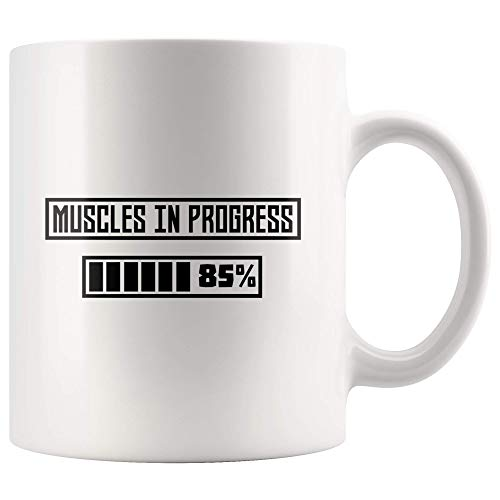 (ILC | Muscles In Progress Workout | Fun Design 11oz White Coffemug)