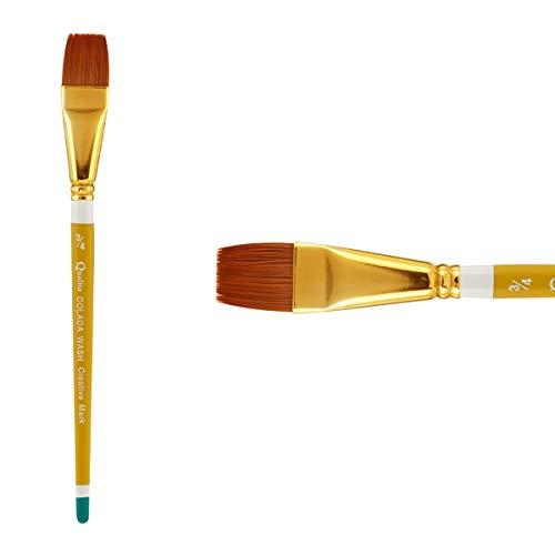 Creative Mark Qualita Golden Paint Brush Taklon Short Handle Paint Brush for Acrylics, Oils, Fine Art, Heavy Bodied Media - Single Brush - [Colada Wash - Size -