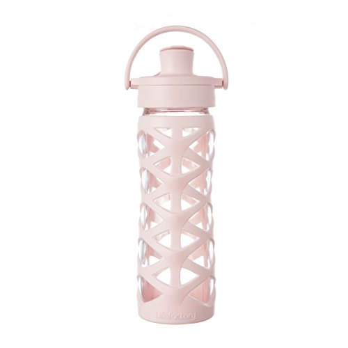 Lifefactory 16-Ounce BPA-Free Glass Water Bottle with Active Flip Cap and Silicone Sleeve, Cherry Blossom Blossom Cap