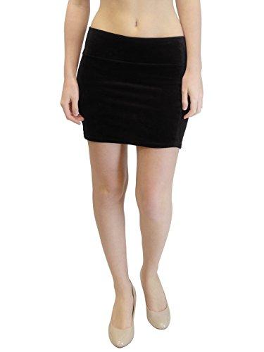 Vivian's Fashions Skirt - Velour Mini Skirt, Junior Size (Black, 2X)