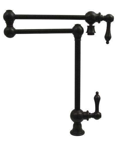 Whitehaus WHKPFDLV3-9555-ORB Whkpfdlv3-9555-Orbvintage Iii Patented Deck Mount Pot Filler with Lever Handles & Swivel Aerator, Oil Rubbed Bronze (9555 Oil)