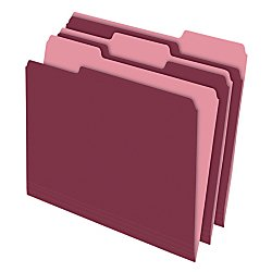 Office Depot Two-Tone Color File Folders, 1/3 Tab Cut, Letter Size, Burgundy, Box Of 100, OD152 1/3 BUR