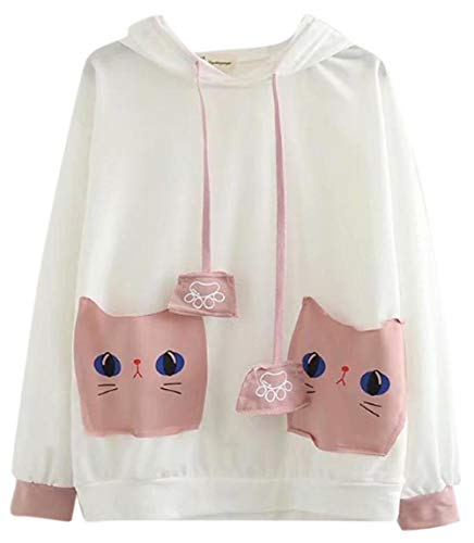 CRB Fashion Cosplay Anime Bunny Emo Girls Cat Bear Ears Emo Bear Top Shirt Pullover Sweater Hoodie (White Cat #2) ()