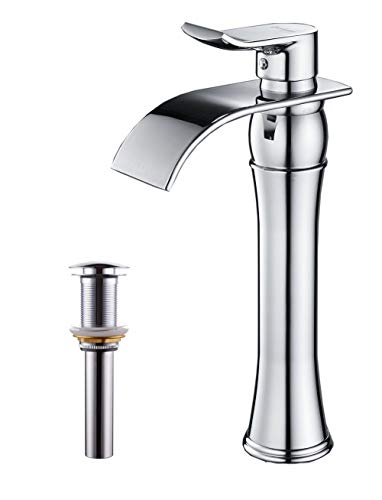 BWE Waterfall Spout Chrome Commercial Single Handle One Hole Bathroom Vessel Sink Faucet Deck Mount With Matching Pop Up Drain Without Overflow ()