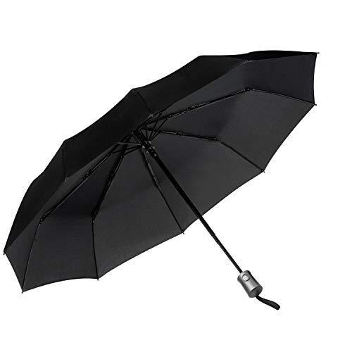 JEOutdoors Travel Umbrella Compact 10 Ribs Windproof Folding Auto Open/Close with Teflon Coating