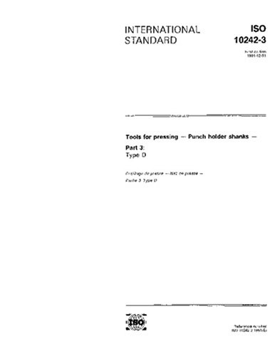 ISO 10242-3:1991, Tools for pressing - Punch holder shanks - Part 3: Type D