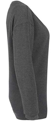 Invernali Taglie Maglia Unita Donna Oversize Sweater Tumblr Baggy Maglione Top Magliette Scuro Pullover Lunga Tunica Tinta Casual Scollo Manica Forti Jumper Felpa Bluse V Grigio Ragazza Ampia Camicetta PTxq4rwP