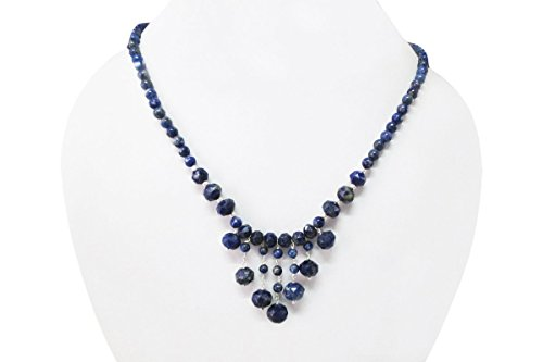 Blue Lapis Lazuli Beads Necklace with Sterling Silver findings 16