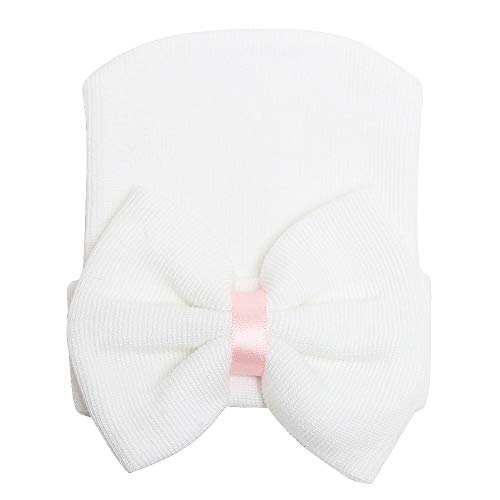 (Zando Newborn Hospital Hat Toddler Beanie Baby Boy Girl Knot Headbands with Big Bows Infant Baby Nursery Caps 1 Pair White One Size)