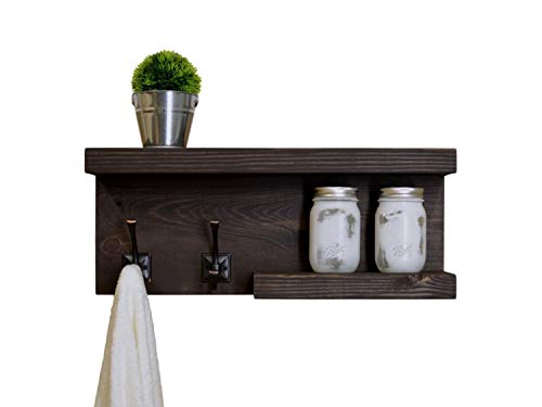 Rustic 2 Tier Bathroom Shelf with Towel Hooks on left ()