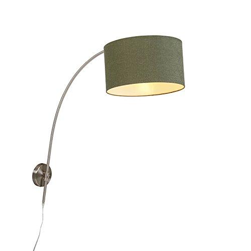 QAZQA Modern Wandbooglamp staal met kap groen 35/35/20 verstelbaar Metaal/Stof Rond Geschikt voor LED Max. 1 x 60 Watt
