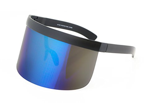 Elite Futuristic Oversize Shield Visor Sunglasses Flat Top Mirrored Mono Lens 172mm (Blue Mirror, - Futuristic Visor