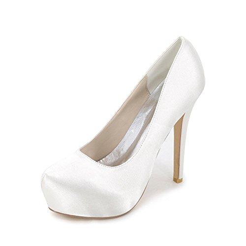 Elegant high shoes Chenxia DamenHochzeit/Party & Festivität-Satin-Stöckelabsatz-Absätze/Rundeschuh/Blau/Rot/Lila/Champagner/Weiß/Silber Weiß