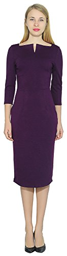 Marycrafts Women's Work Office Business Square Neck Sheath Midi Dress 18 Deep Purple - Lined Pencil Skirt