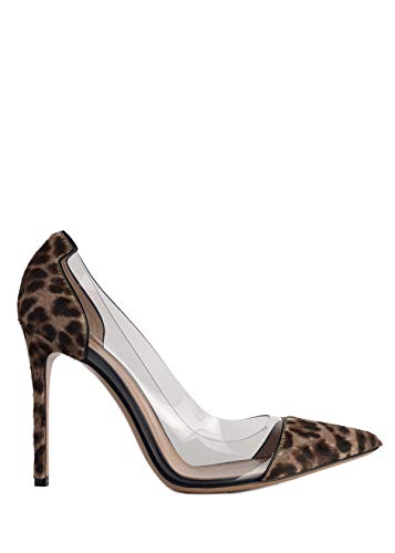 (Gianvito Rossi Womens Leopard Print Pony Transparent Pumps IT40.5/US10.5~RTL$815 Brown)