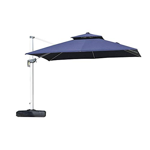 PURPLE LEAF 12 Feet Double Top Deluxe Square Patio Umbrella