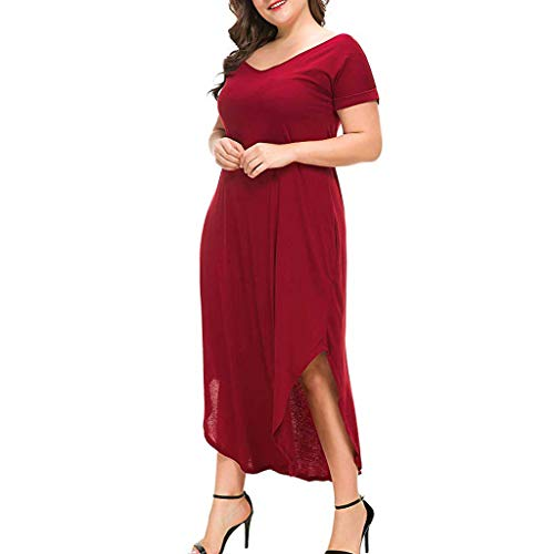 - Sanyyanlsy Women's Plus Size Pocket Solid Color Midi Dress O-Neck Loose Short Sleeve Split Summer Party Daily Dress Red