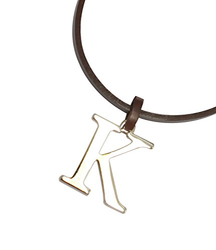 Az Collection Plated Necklace - Bijoux De Ja BDJ Unisex Rhodium Plated A-Z Capital Initial Pendant Real Leather Necklace 18 Inches (K-Brown)