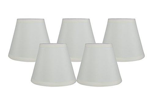 Meriville Set of 5 Eggshell Faux Silk Clip On Chandelier Lamp Shades, 3.5-inch by 6-inch by 5-inch