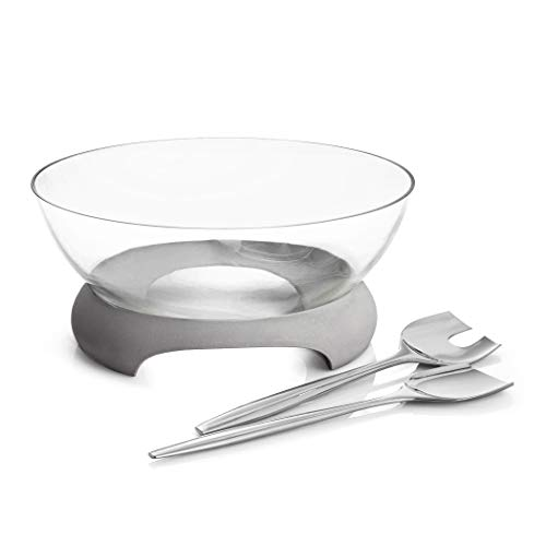 Glass Salad Server - Nambe Forte Glass Salad Bowl with Servers