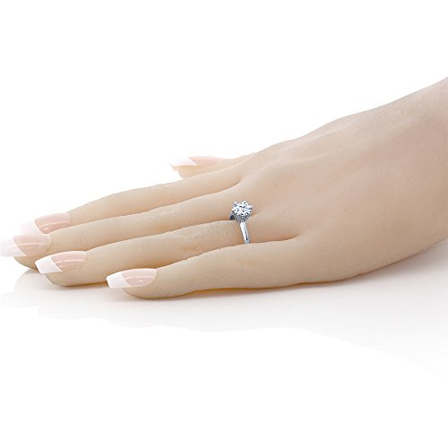 14K White Gold Hearts And Arrows White Created Sapphire Engagement Solitaire Ring (1.20 Ctw, Available in size 5, 6, 7, 8, 9)